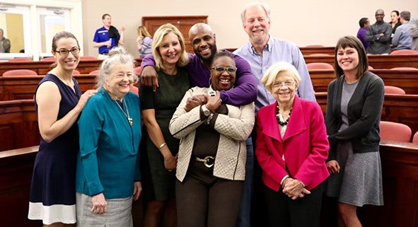 HDFS Alum and NFL Player, Mike Adams, with faculty and staff during his April 2016 Outreach Colloquium