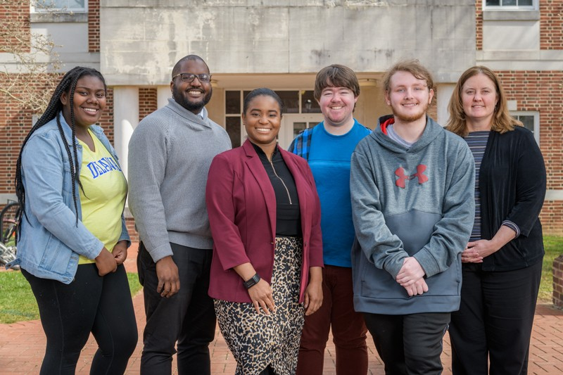 From left to right are student Anij'ya Wilson, program manager Imani Powell, program coordinator Deandra Taylor, student Cooper Middleton, student Michael Sensenig and senior assistant dean Kristine Ritz.