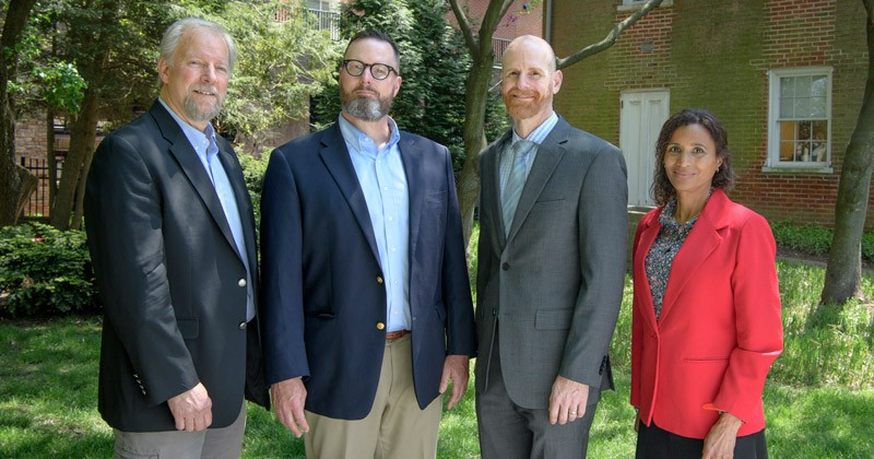 Honored with the 2019 Excellence in Teaching Awards are, from left, Rob Palkovitz, William Lewis, Jack Puleo and Flora Poindexter
