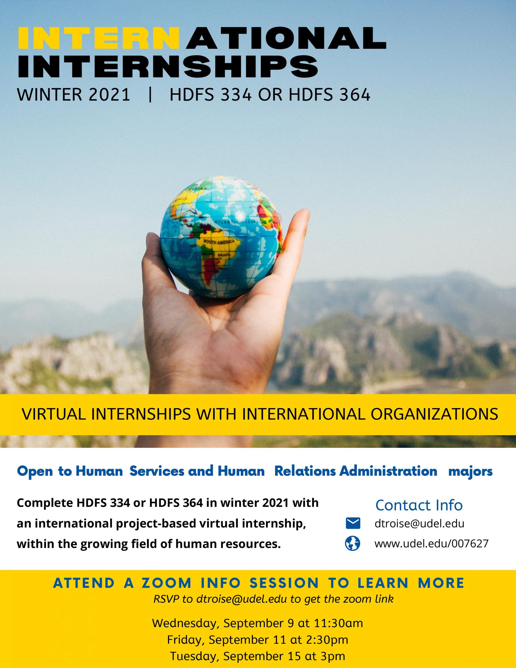 Winter 2021 international internships flyer